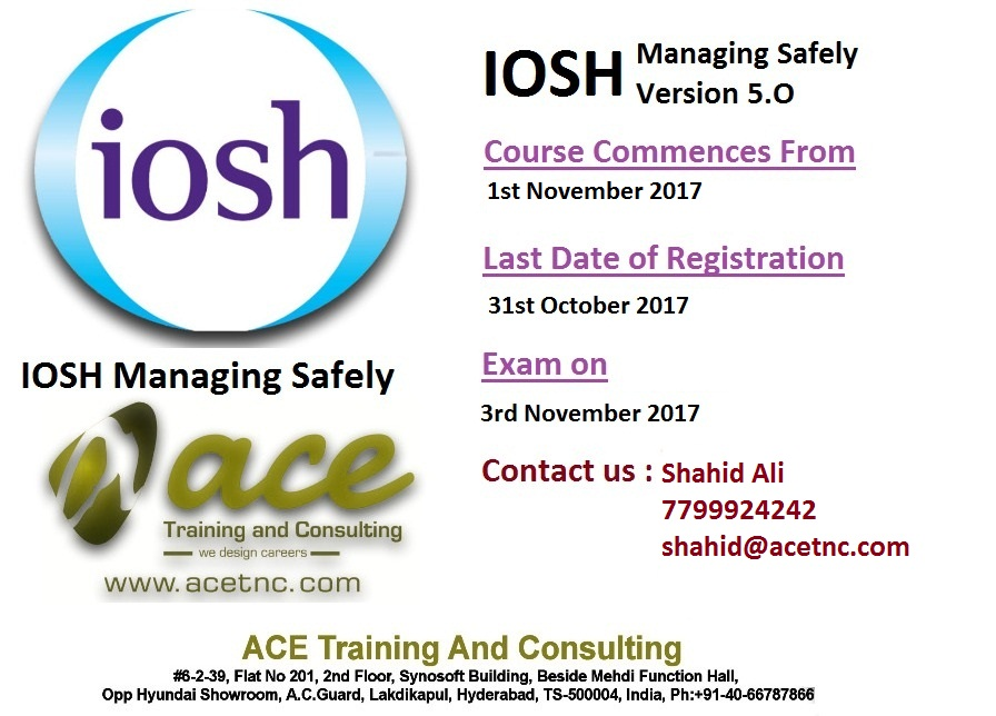 Iosh Managing Safely Course in Hyderabad