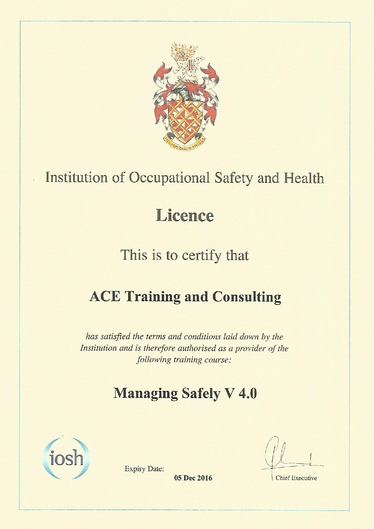 INSTITUTION OF OCCUPATIONAL SAFETY & HEALTH - ACE Training