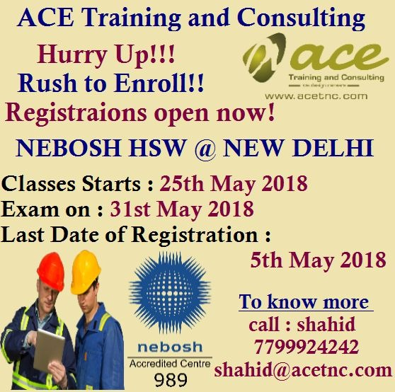 Nebosh HSW Training in Delhi