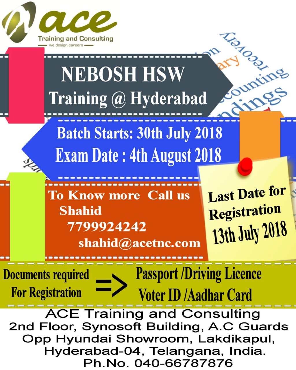 Nebosh HSW Training in hyderabad