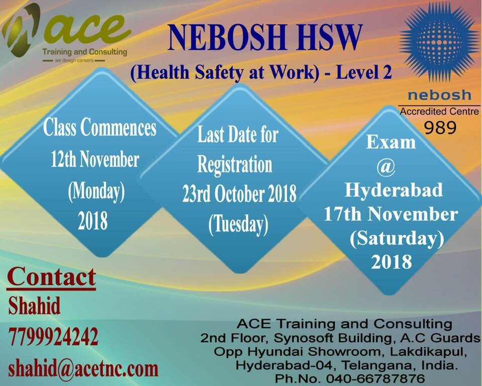 Nebosh Hsw Training in Hyderabad (November-2018)