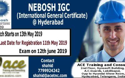 NEBOSH IGC Training in Hyderabad – May 2019