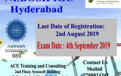 Nebosh IGC Training in Hyderabad (Sep 2019)